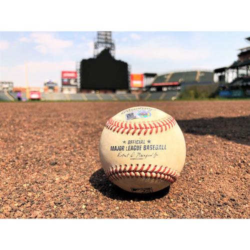 Photo of Colorado Rockies Game-Used Baseball - Darvish v. Blackmon - Strikeout - 4-21-18