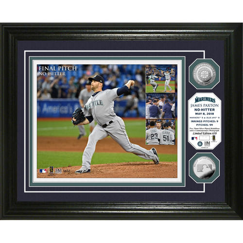 "Photo of Seattle Mariners James Paxton Highland Mint No-Hitter 13"" x 16"" Photo Mint"
