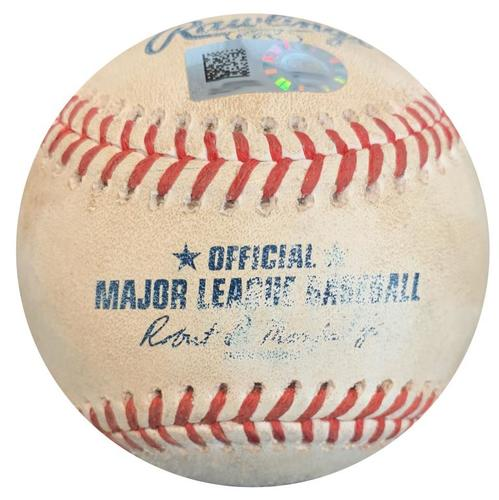 Photo of Game-Used Baseball from Pirates vs. Dodgers on 6/7/18 - Yasiel Puig RBI Double