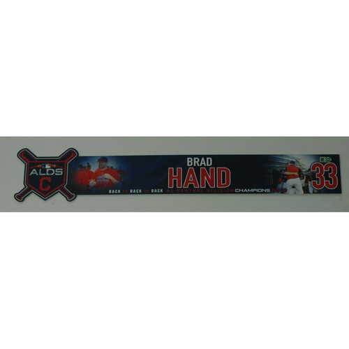Photo of Brad Hand Game-Used 2018 ALDS Locker Name Plate - Game 3 - 10/8/18