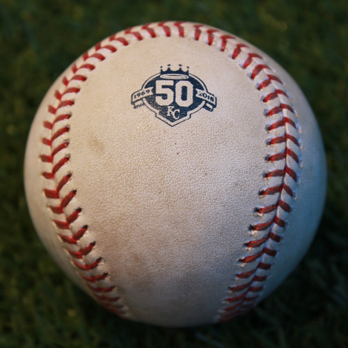 Photo of Game-Used Baseball: Yandy Diaz 12th Career Double (CLE @ KC - 9/27/18)