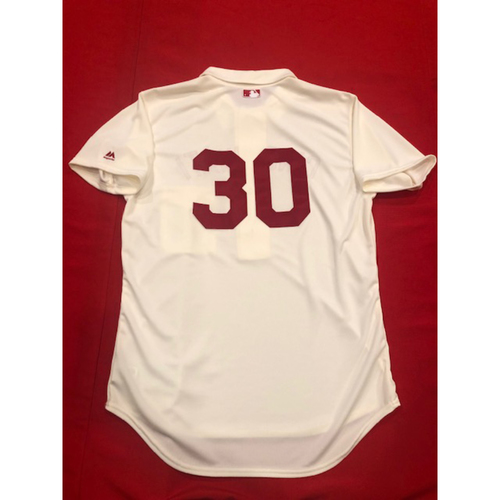 Photo of Tyler Mahle -- 1902 Throwback Jersey -- Game-Used -- SF vs. CIN on May 4, 2019