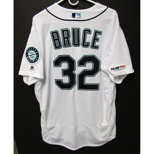 Photo of Jay Bruce Game-Used Home White Jersey - Athletics vs. Mariners - 5/13/19
