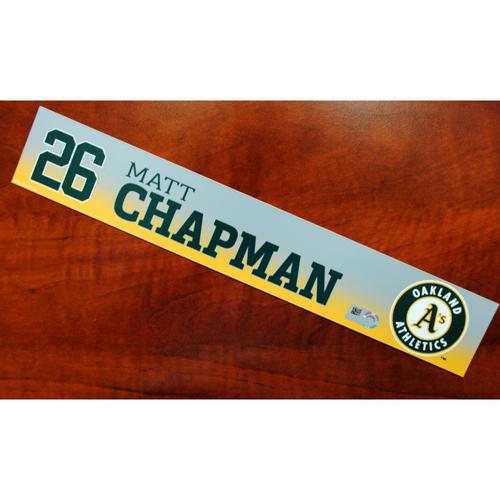 Photo of Game-Used Matt Chapman 2019 Spring Training Locker Nameplate
