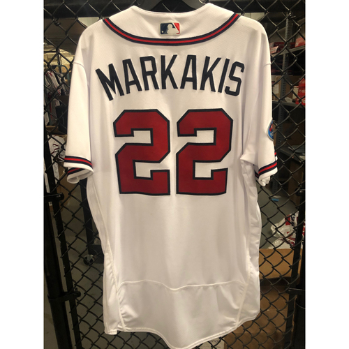 Photo of Nick Markakis Game Used NLDS Jersey - Worn 10/8/2018 Game 4