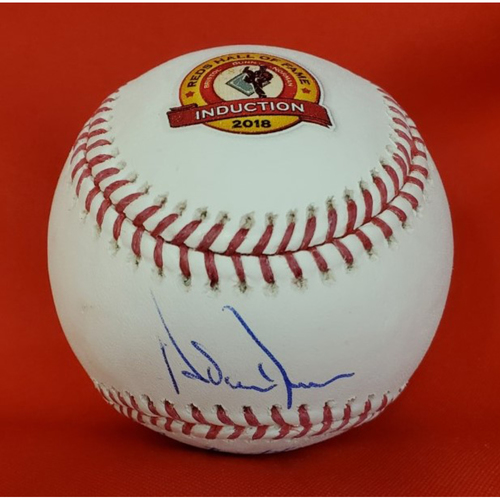 2018 Induction Baseball Triple Autographed by Inductees, Adam Dunn, Dave Bristol, and Fred Norman (Dunn on Sweet Spot)