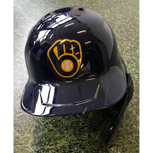 Photo of Orlando Arcia 09/18/20 Game-Used Batting Helmet - 2-4, 2B, HR, 4 RBI, BB, 2 R