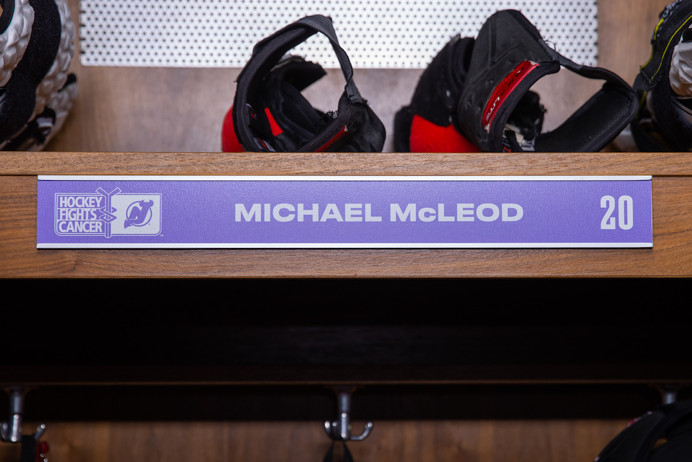 Michael McLeod Autographed 2020-21 Hockey Fights Cancer Locker Room Nameplate - New Jersey Devils
