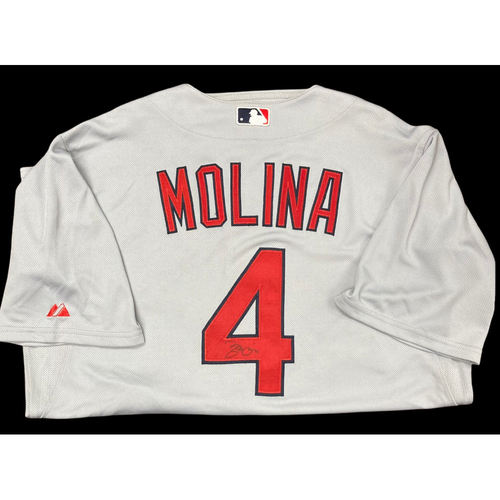 Photo of Yadier Molina Autographed Replica Road Jersey (Size 46)