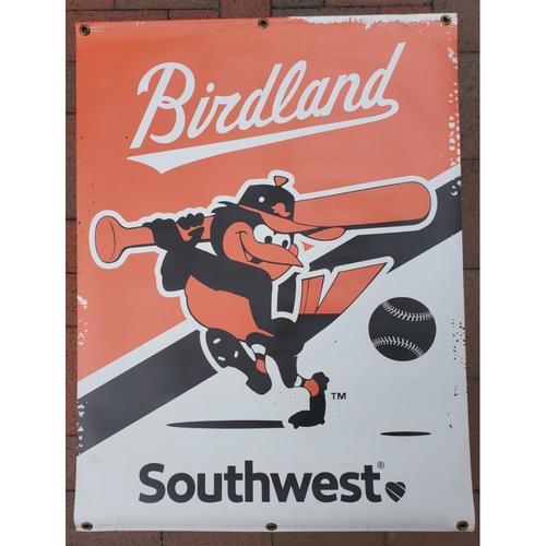 Photo of Orioles Street Banner - Retro Batting Bird Logo