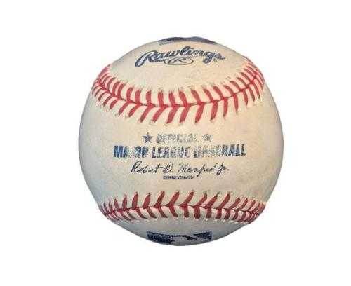 Photo of Game-Used Baseball from Pirates vs. Dodgers on 8/8/15 - Adrian Gonzalez RBI Single