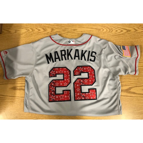 Photo of Nick Markakis Game-Used 2017 Stars and Stripes Jersey - July 2, 2017