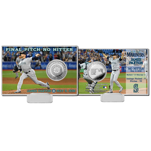 "Photo of Seattle Mariners James Paxton Highland Mint No-Hitter 4"" x 6"" Silver Coin Card"