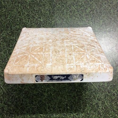 Photo of Game-Used 06/05/17 1st Base - SF@MIL - Brett Phillips MLB Debut & 1st Hit Game