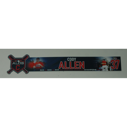 Photo of Cody Allen Game-Used 2018 ALDS Locker Name Plate - Game 3 - 10/8/18