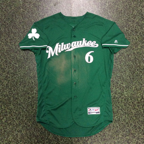 Photo of Lorenzo Cain 2018 Team-Issued St. Patrick's Day Jersey