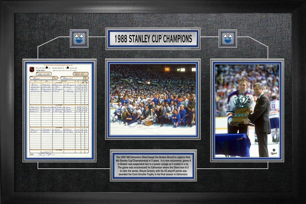 Edmonton Oilers Framed Scoresheet Collage 1988 Stanley Cup Champions