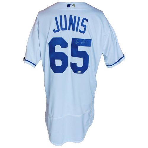 Photo of Autographed 50 Seasons Jersey: Jakob Junis