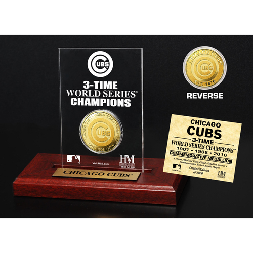 Photo of Chicago Cubs 3-time World Series Champions Gold Mint Coin Etched Acrylic