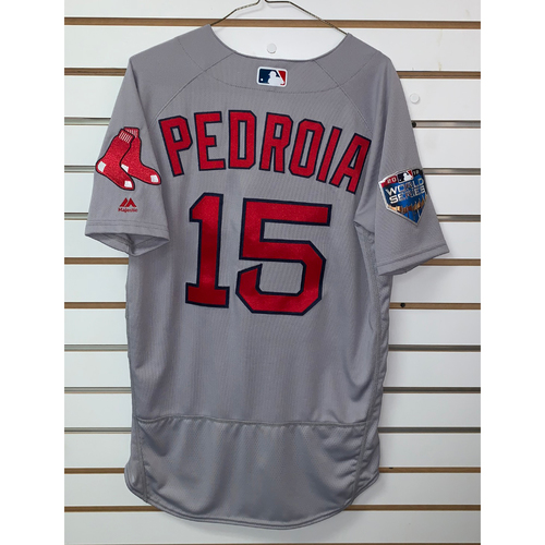 Photo of Dustin Pedroia Team Issued 2018 World Series Road Jersey