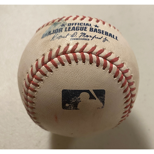 Photo of 2020 Game-Used Baseball used on 8/23 vs. Arizona Diamondbacks - B-8: Yoan Lopez to Pablo Sandoval - RBI Single to LF (Belt Scores)