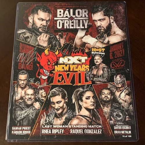Photo of SIGNED and NUMBERED NXT New Year's Evil Fight Card(Random Number)*Imperfect Signatures*