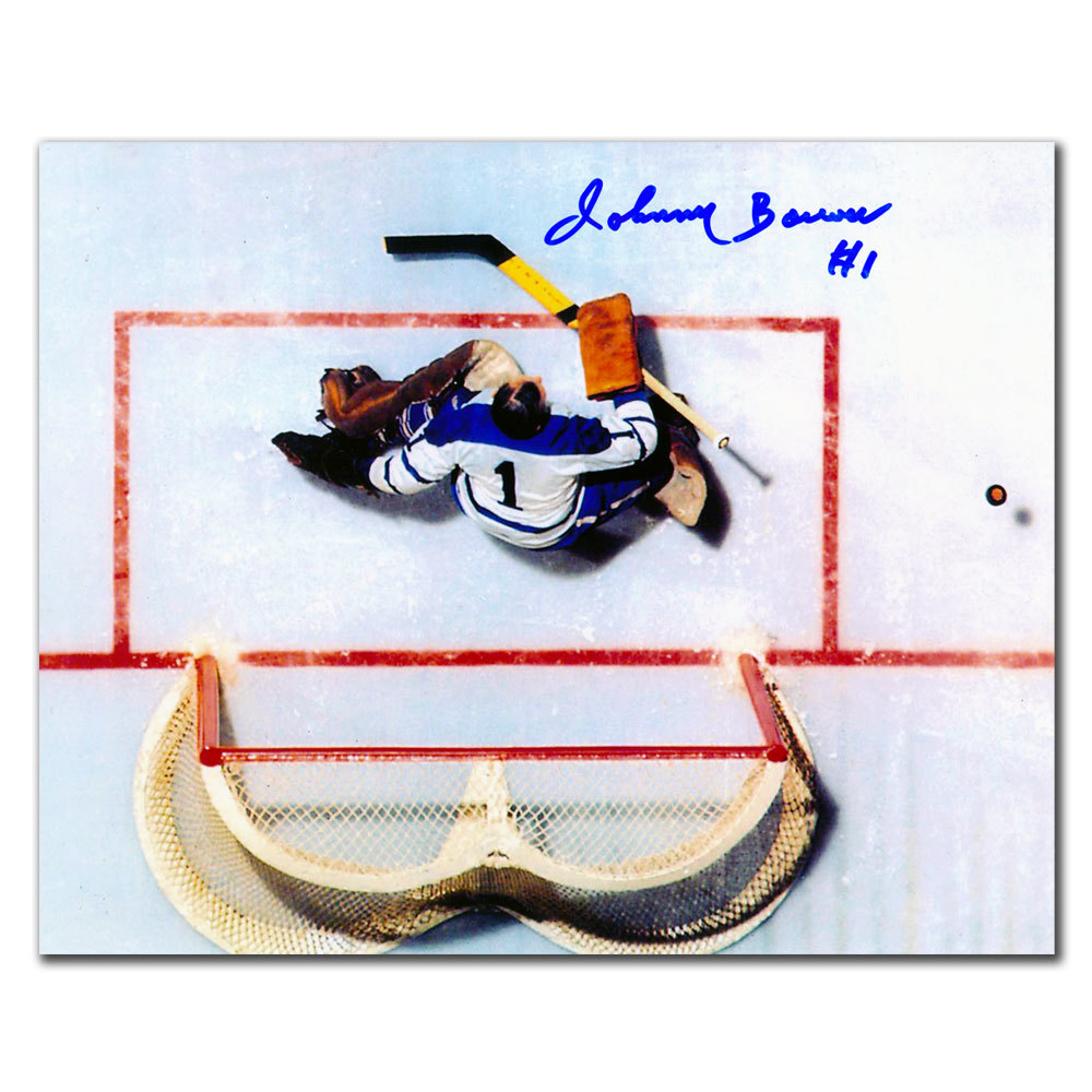 Johnny Bower Toronto Maple Leafs OVERHEAD Autographed 8x10