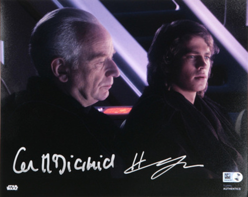 Hayden Christensen as Anakin Skywalker and Ian McDiarmid as Chancellor Palpatine 8x10 Dual Autographed in Sliver Ink Photo