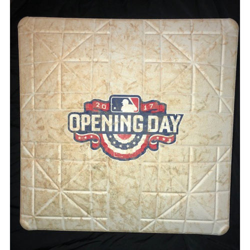 Photo of Base featuring 2017 Opening Day Logo - Not MLB Authenticated