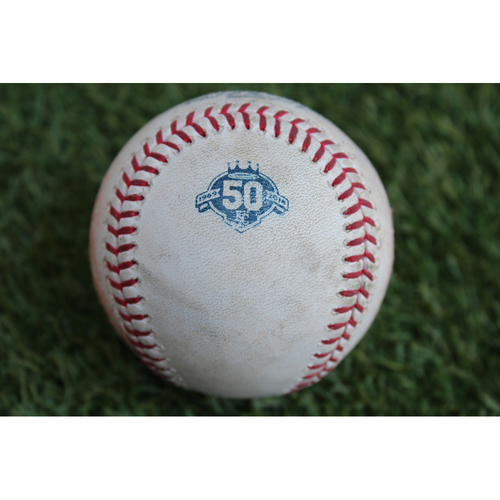 Photo of Game-Used Baseball: Mike Trout Ground Out (LAA at KC - 6/25/18)
