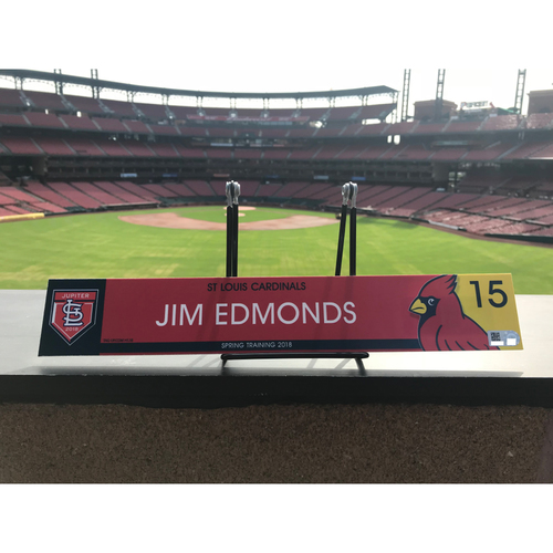 Photo of Cardinals Authentics: Jim Edmonds Team Issued 2018 Spring Training Locker Tag