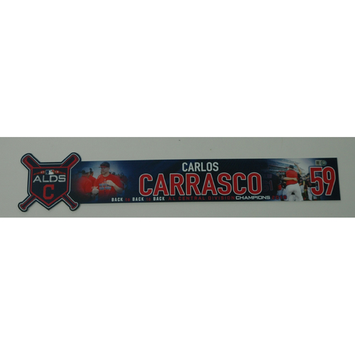 Photo of Carlos Carrasco Game-Used 2018 ALDS Locker Name Plate - Game 3 - 10/8/18