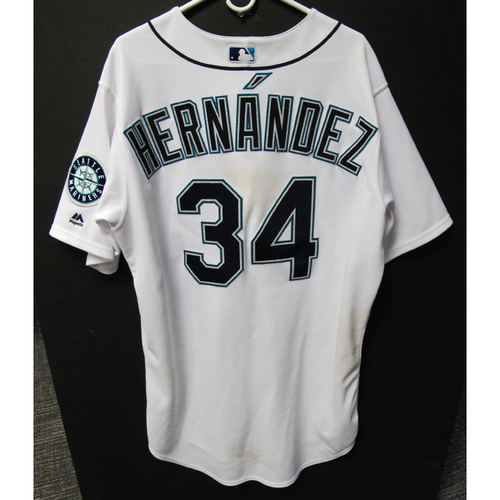 Photo of Seattle Mariners Felix Hernandez Game Used Home White Jersey - 9/26/18 vs. Athletics
