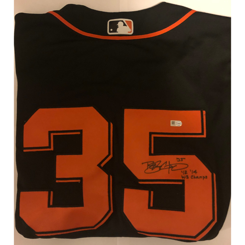 "Photo of Brandon Crawford Autographed ""12,14 WS Champs"" Alternate Black Jersey"