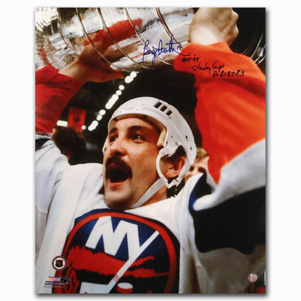Bryan Trottier Autographed New York Islanders 16X20 Photo w/STANLEY CUPS 80-81-82-83 Inscription
