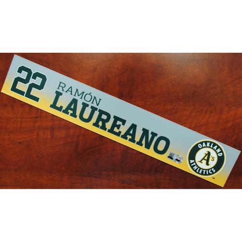 Photo of Game-Used Ramon Laureano 2019 Spring Training Locker Nameplate