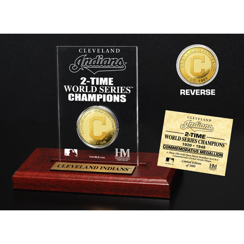 Photo of Cleveland Indians 2-Time World Series Champions Gold Coin Etched Acrylic