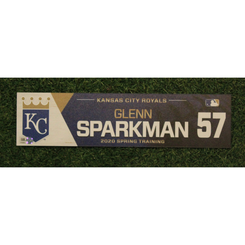 Photo of Game-Used Spring Training Locker Tag: Glenn Sparkman #57
