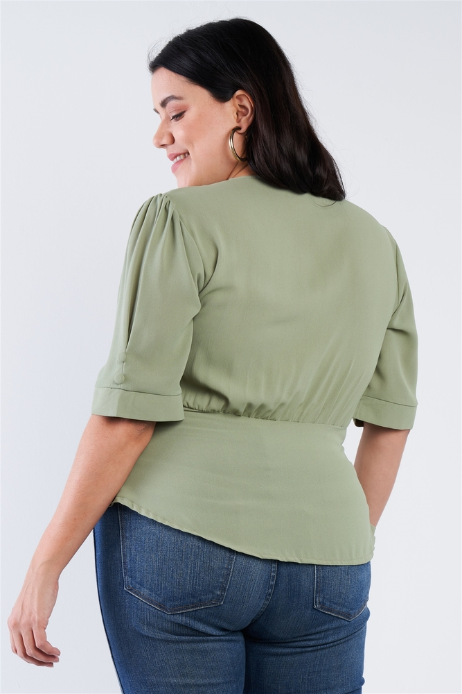 Photo of Serenity Plus Size V-neck Mock Side Button Peplum Top