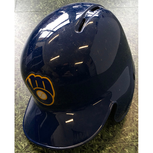 Photo of Lorenzo Cain 04/19/19 Game-Used Batting Helmet - 1-4, 1000th Career Hit Game
