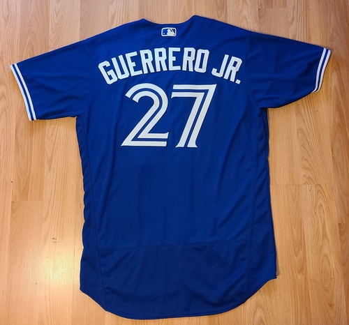 Photo of Authenticated Game Used Jersey: #27 Vladimir Guerrero Jr. (May 21, 2021: 3-for-4 with 2 HRs, 4 RBIs, 2 Runs and 1 BB). Size 48.