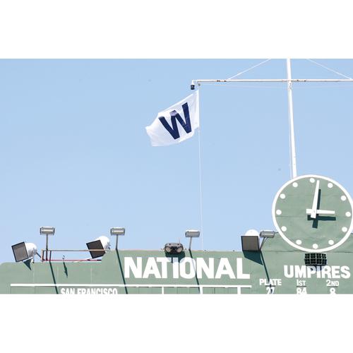 Photo of Wrigley Field Team-Issued 'W' Flag -- Arrieta 1st Win (6 IP, 1 ER, 5 K) -- Bryant 1st HR; Heyward 1st HR -- Pirates vs. Cubs -- 4/3/21