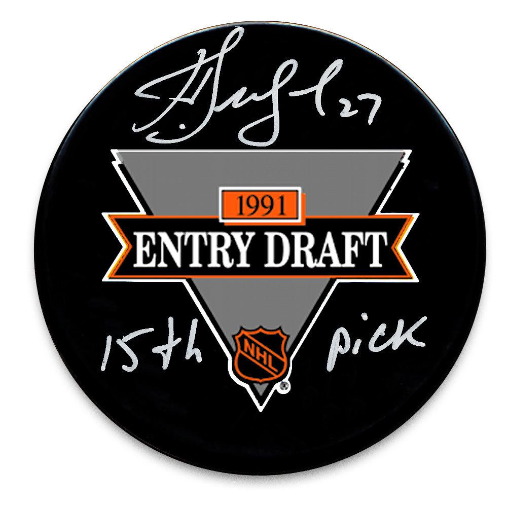 Alex Kovalev 15th Pick 1991 NHL Draft Day Autographed Puck New York Rangers