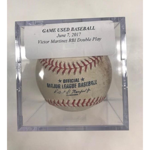Photo of Game-Used Baseball: Victor Martinez Run-Scoring Double Play
