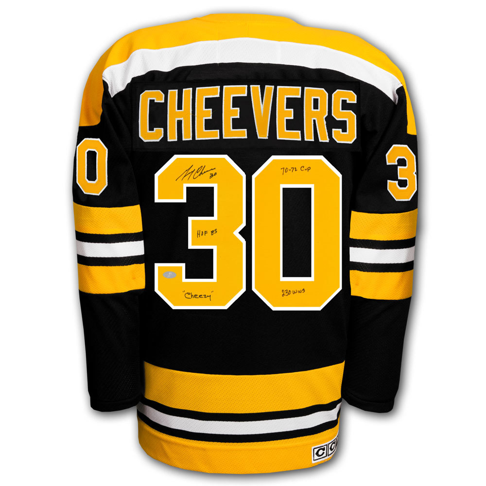 Gerry Cheevers Boston Bruins STATS CCM Autographed Jersey