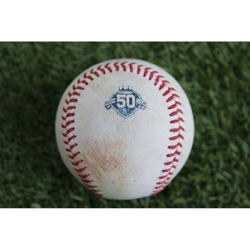 Photo of Game-Used Baseball: Brandon Guyer 299th Career Hit (CLE at KC - 7/3/18)
