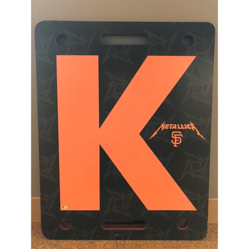 "Photo of Giants Community Fund: Metallica Night Team Issued Orange ""K"" Board #9"