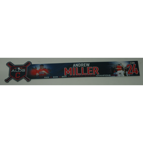 Photo of Andrew Miller Game-Used 2018 ALDS Locker Name Plate - Game 3 - 10/8/18