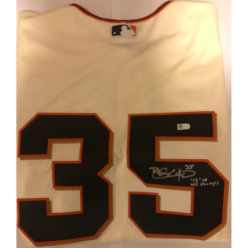 "Photo of Brandon Crawford Autographed ""12,14 WS Champs"" Authentic Home Cream Jersey"