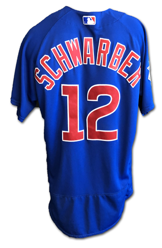 Photo of Kyle Schwarber Game-Used Jersey -- Schwarber 10th HR of Season -- Cubs at Astros -- 5/29/19 -- Size 46